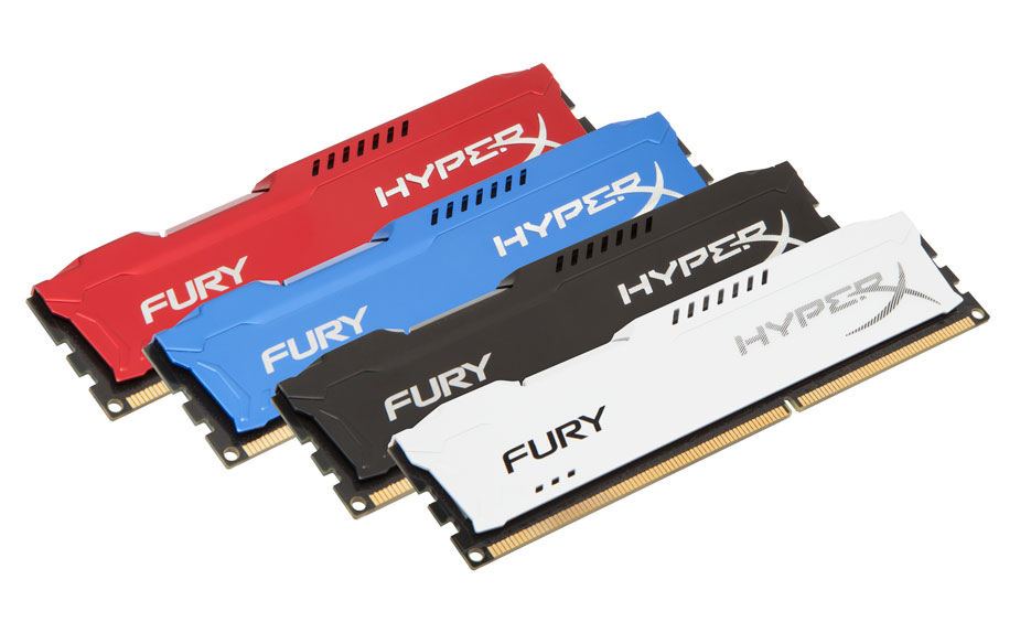 HyperX Fury DDR3 Memory Black White Blue and Red