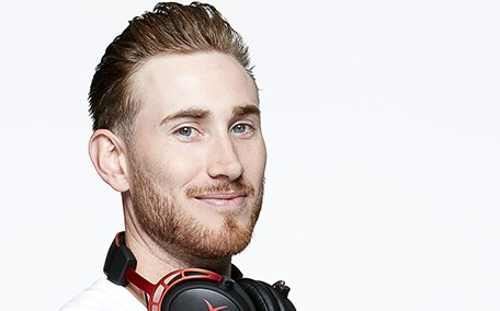 Photo of HyperX Influencer Gordon Hayward with HyperX Cloud Alpha Headset around neck Promotional Shoot