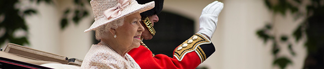 Visual image of the Queen in Heathrow airport