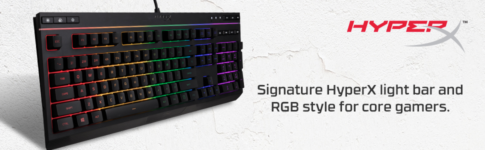 Signature HyperX light bar and RGB style for core gamers.