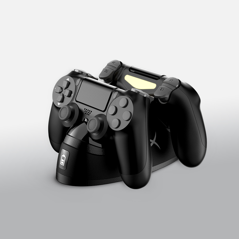 Swiftly charge two PS4TM controllers via EXT port