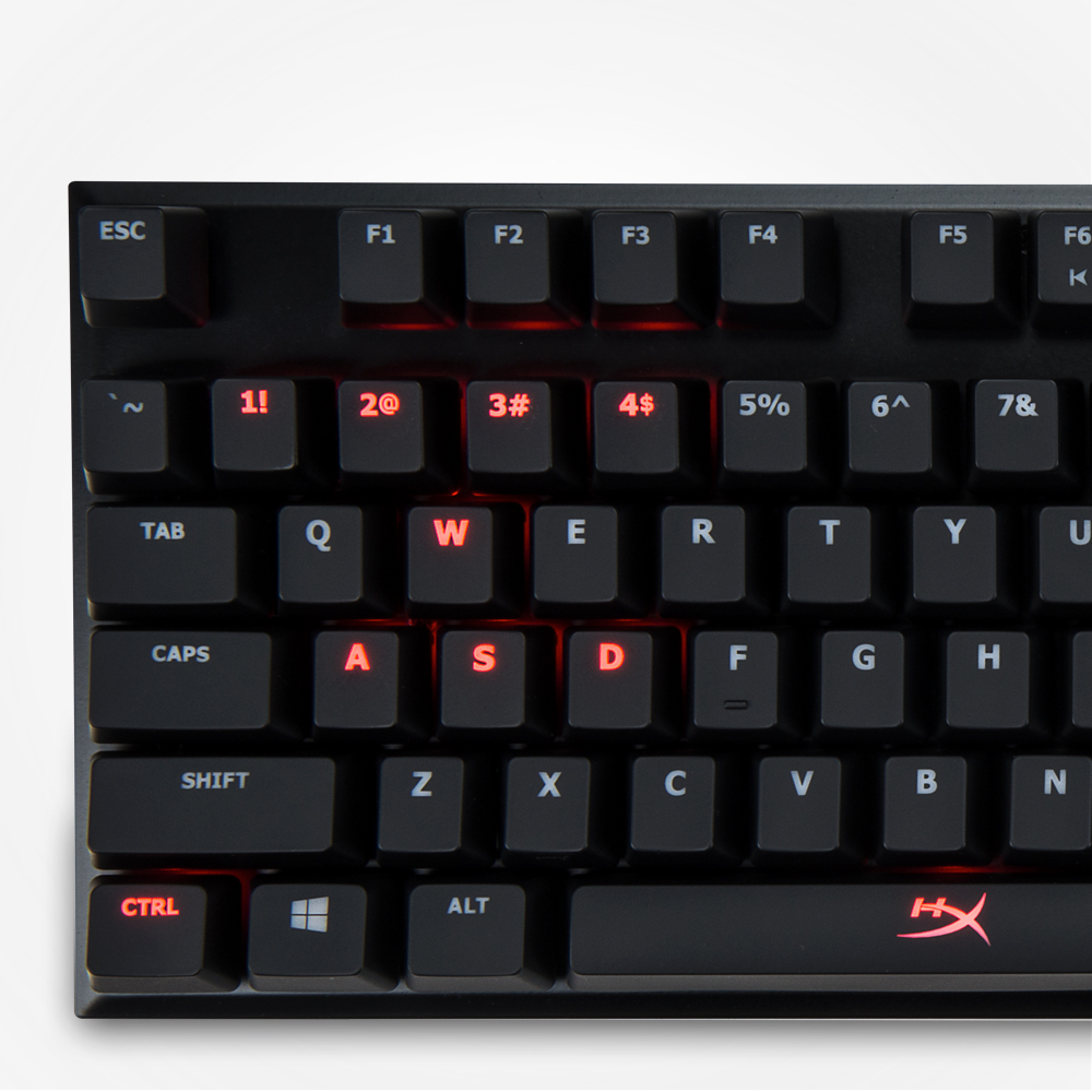 HyperX red backlit keys with dynamic lighting effects
