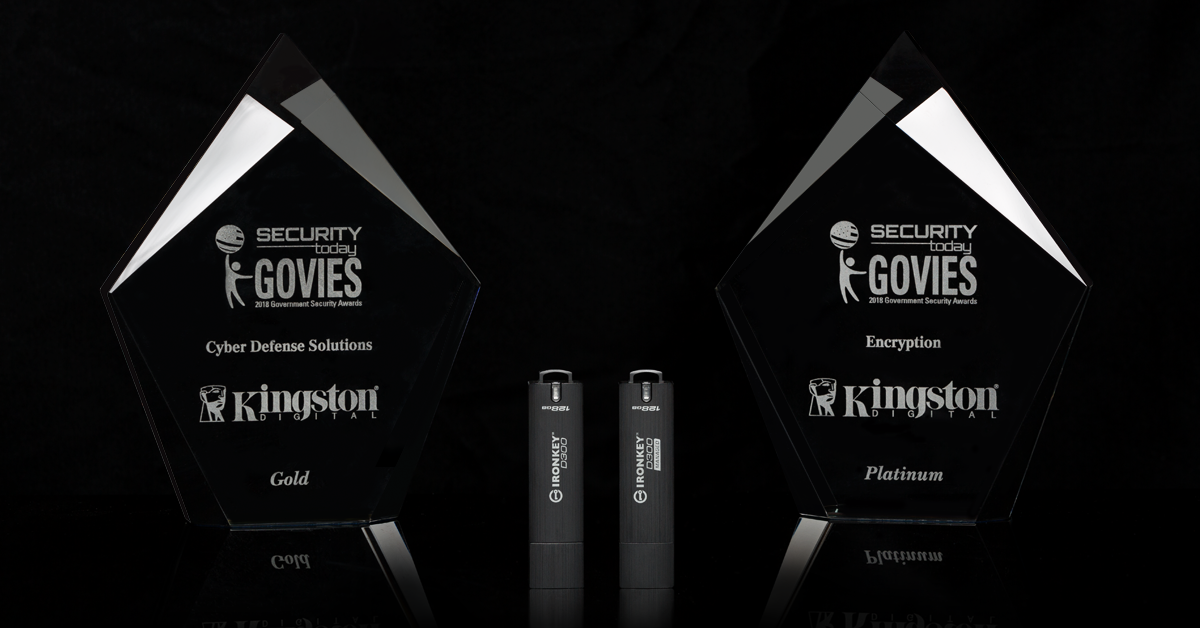 "Kingston IronKey D300 Encrypted USB Drive Named Winner of Two 2018 ""Govies"" Awards"