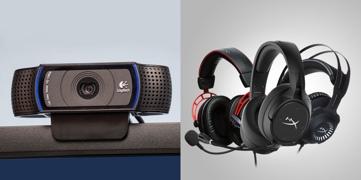 Logitech C920 webcam and HyperX Cloud Headsets