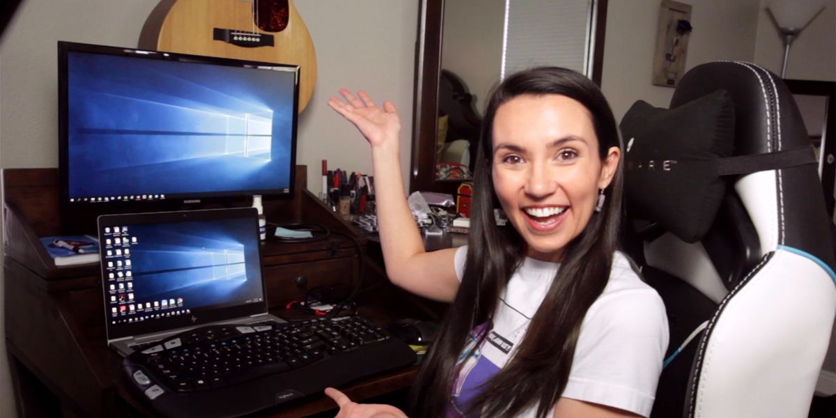 Trisha at her computer desk