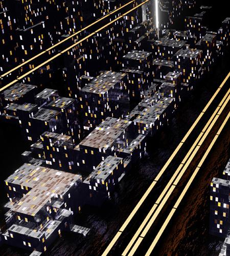 Abstrakcyjna grafika przedstawiająca budynki ze ścieżkami świetlnymi na drodze, które symbolizują ścieżki przepływu danych
