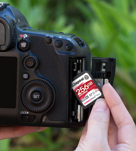 DSLR camera with a Kingston Canvas React SD card
