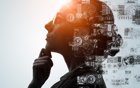 An IT professional woman thinking with sun in the background