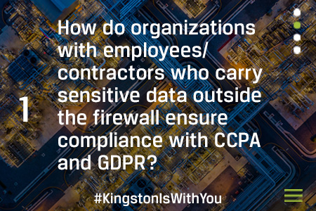 How do organizations with employees/contractors who carry sensitive data outside the firewall ensure compliance with CCPA and GDPR?