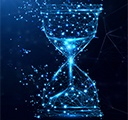 Light blue Illustration vector hourglass from digital network lines and triangles on dark blue background