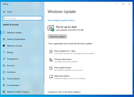 Okno aktualizacji dla Windows 10