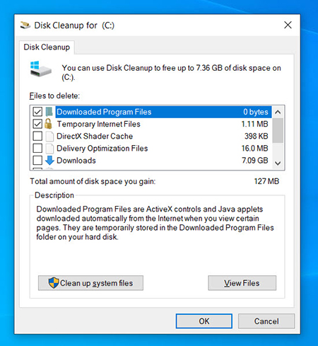 Disk Cleanup window