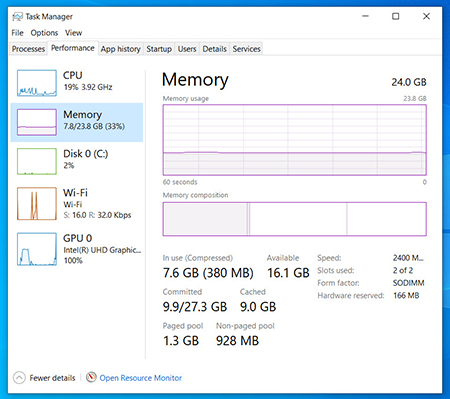 Windows 10 Task Manager's Performance Tab, Memory section shows memory usage