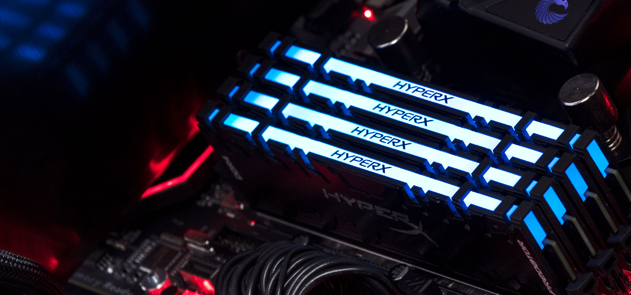 Close Up of HyperX Predator DDR4 RGB Blue LED installed in a PC