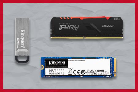 Unidad Flash USB Kingston DT Kyson, memoria RGB DD4R FURY Beast y disco SSD NV1