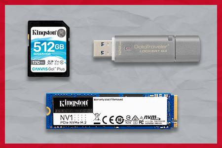 Unidad Flash USB Kingston DT Locker G3, NV1 SSD y Canvas Go! Tarjetas microSD Plus