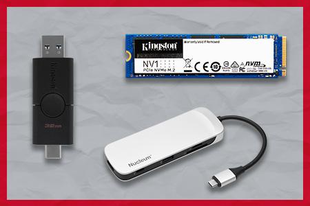 Unidad Flash USB Kingston DT Duo, disco SSD NV1 y concentrador USB-C Nucleum