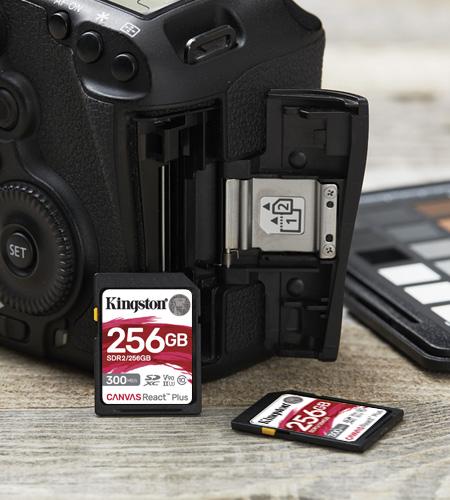 DSLR with an SD card on desk