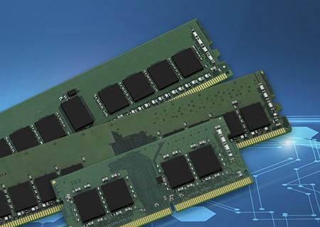 회로 기판의 패턴 및 칩을 묘사한 그림 위에 놓인 16Gbit 서버, 데스크톱 및 노트북 메모리 모듈