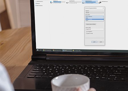 Pantalla para formatear un USB en Windows 10