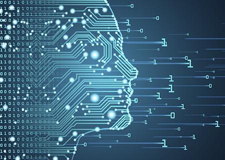 Bosquejo de la IA con placa de circuitos y flujo de datos de código binario sobre fondo azul