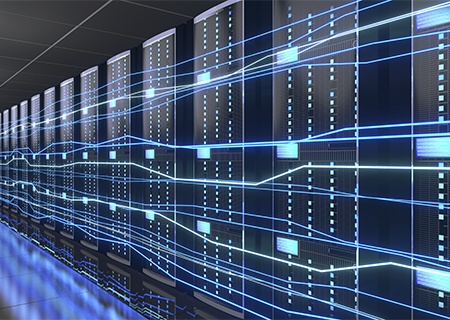 3D rendering for a server room with illustrated lines representing fast data transfer