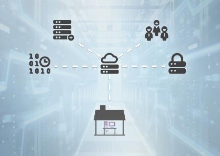 Инфографика, изображающая работающих из дома сотрудников, подключающихся к микроцентрам обработки данных в облаке