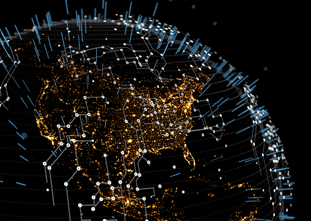 Abstract 3D model of the earth at night with lights as seen from space, vertical rays and circuit board trace symbology