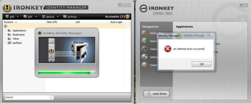 IronKey Identity Manager Internal Error due to the discontination of the restore and backup feature for S100 Personal, S200 Personal, and D200 Personal encrypted USB flash drives.