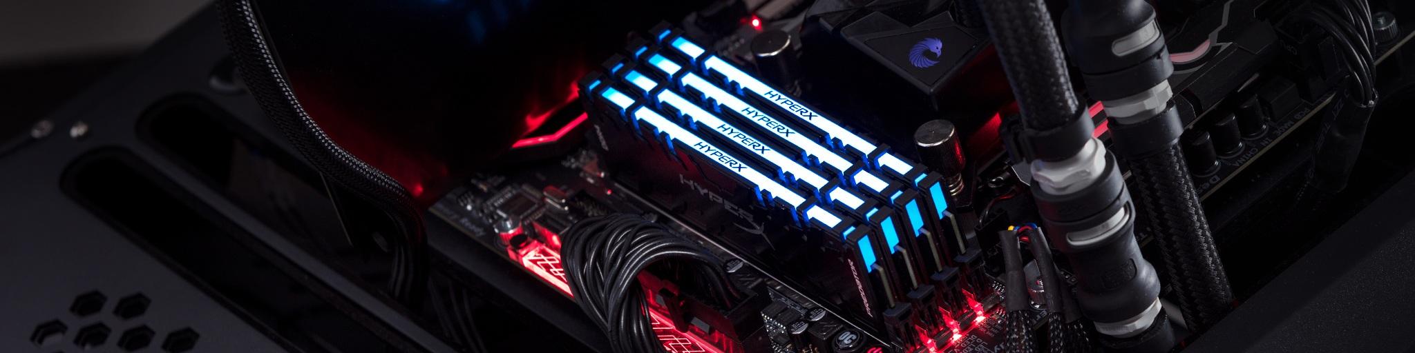 Kingston FURY Predator DDR4 RGB mit blauer LED, in einem PC installiert