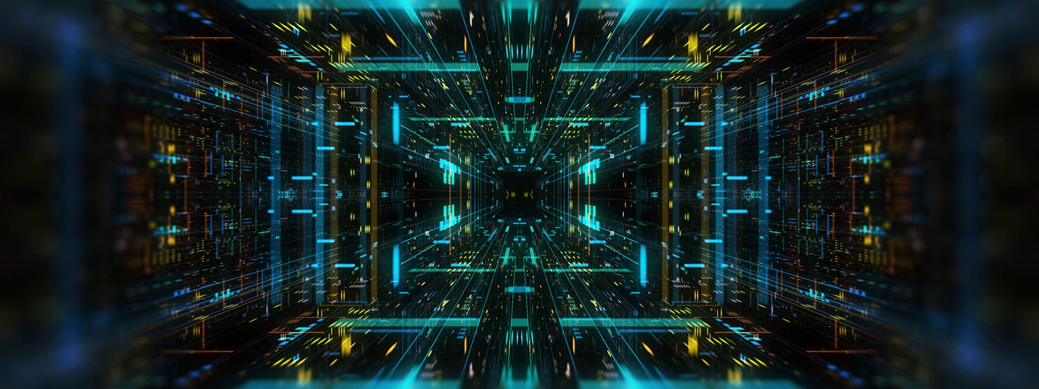发光几何通道单点透视的未来风格三维图形