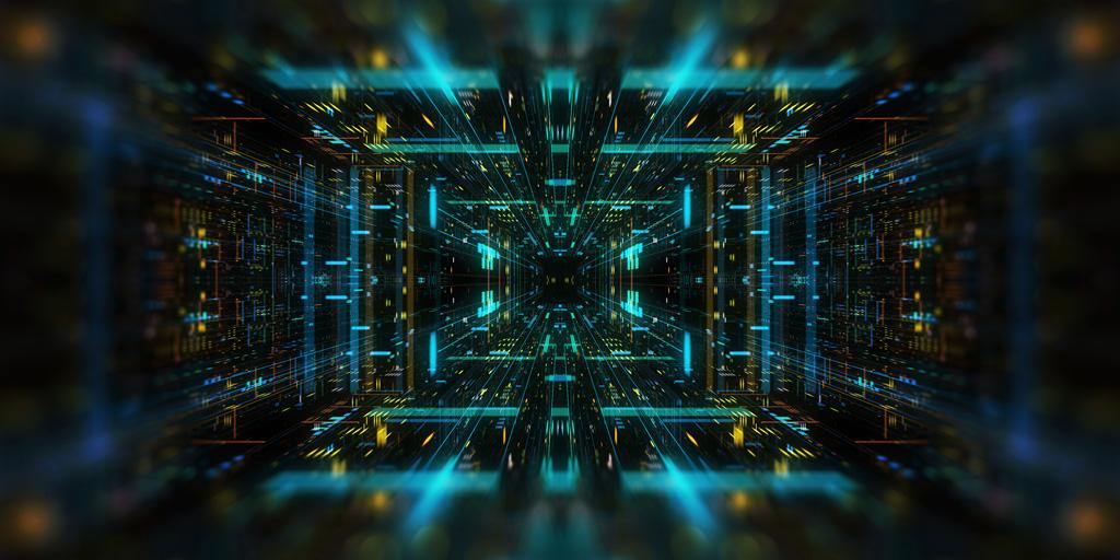Futurystyczna grafika 3D świecącego geometrycznego tunelu z jednopunktowej perspektywy