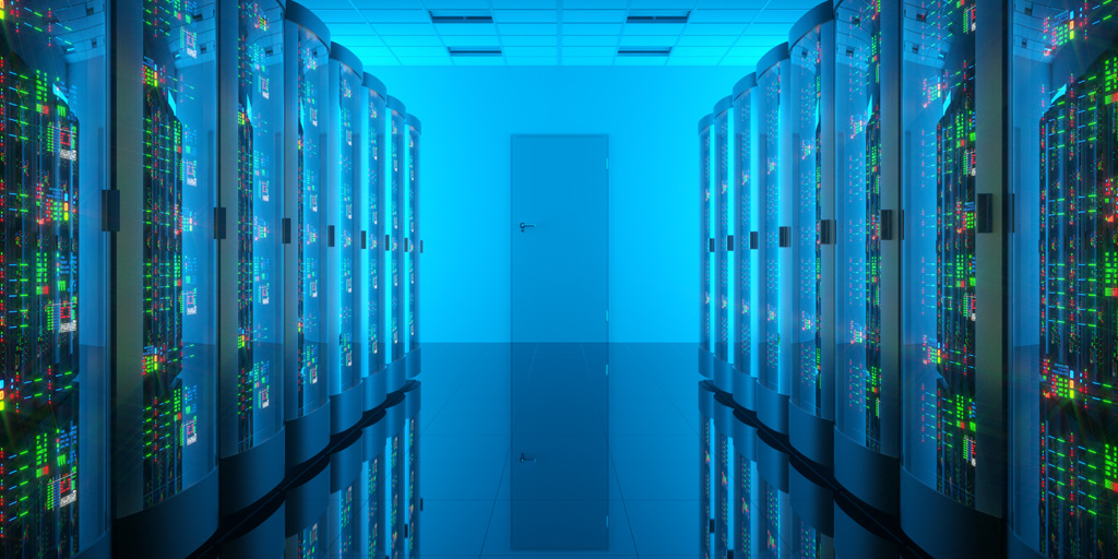 View down a data center hallway with blue lighting and green LEDs