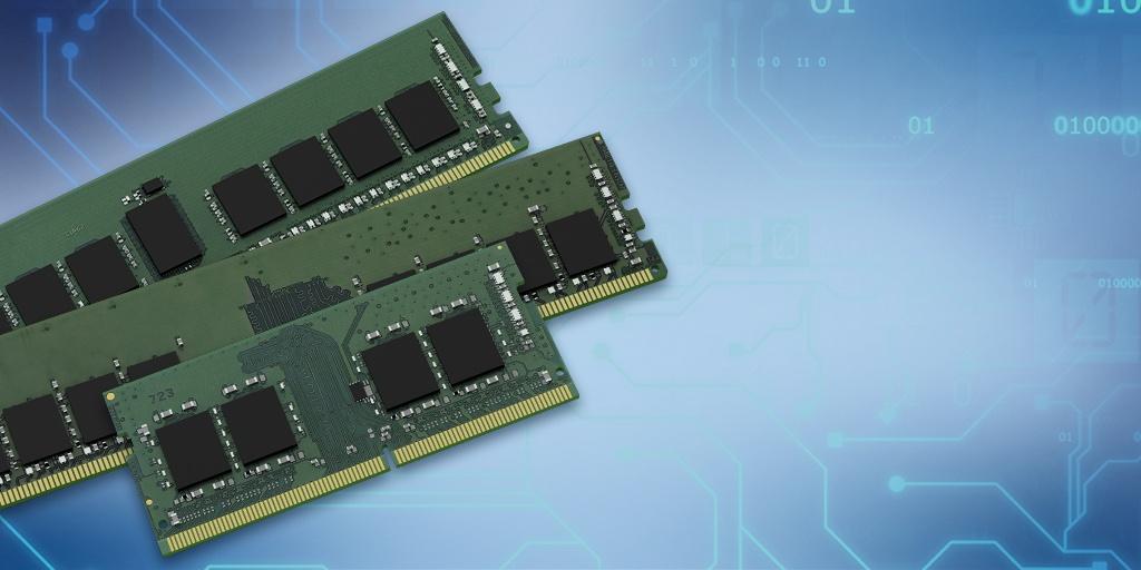 Moduły 16-gigabitowej pamięci do serwera, komputera stacjonarnego i komputera przenośnego na tle ilustracji ze ścieżkami i chipami na płytce drukowanej