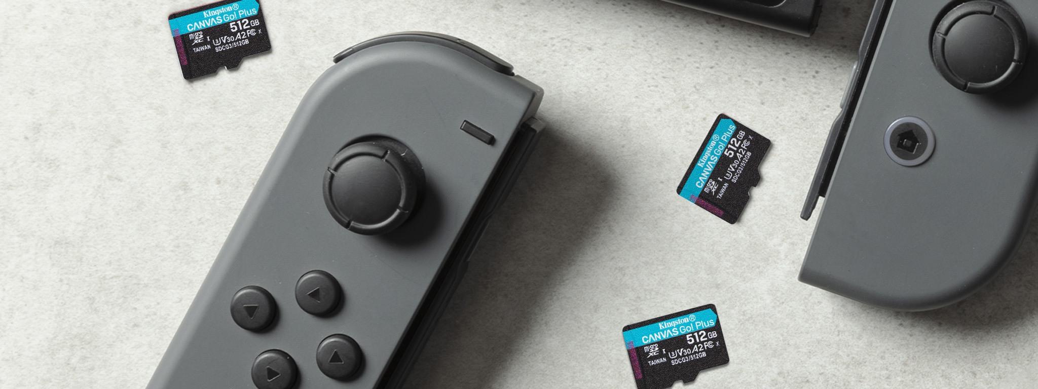 Kingston Go!桌上的 Nintendo Switch 裝載 Plus microSD