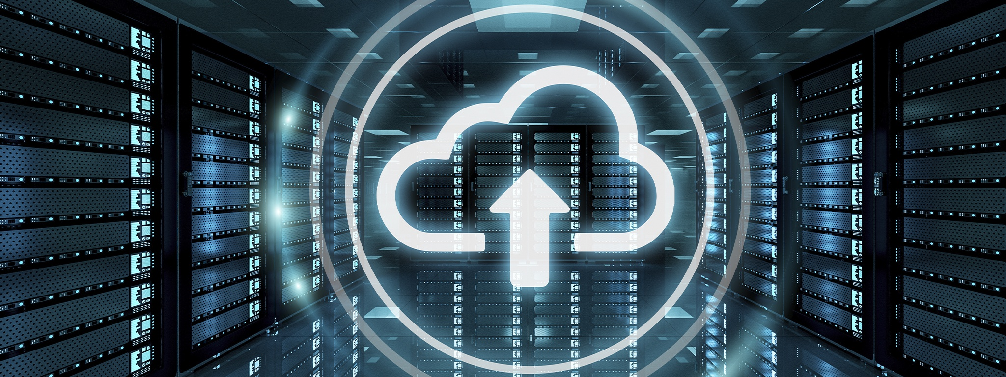 Cloud graphic with an up arrow with server racks in the background