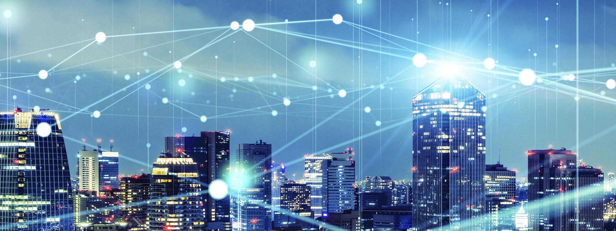 paisaje urbano inteligente con red de comunicaciones de líneas de IoT conectando la ciudad