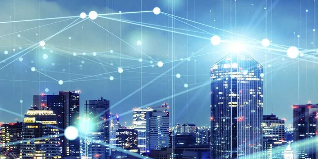 smart cityscape with communication network IOT lines connecting the city