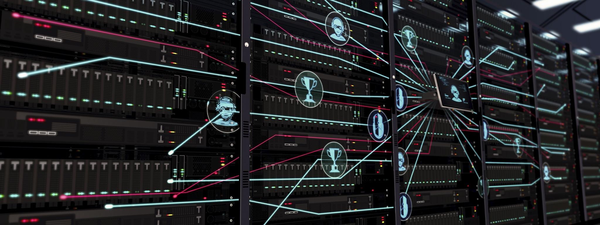 veri merkezindeki sunucu raflarında video oyunu ve eSpor resimli simgeleri