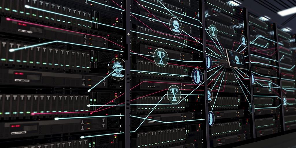 数据中心中服务器机架上的视频游戏和电子竞技图示图标