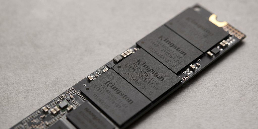 close up on the chips on a Kingston NVMe SSD