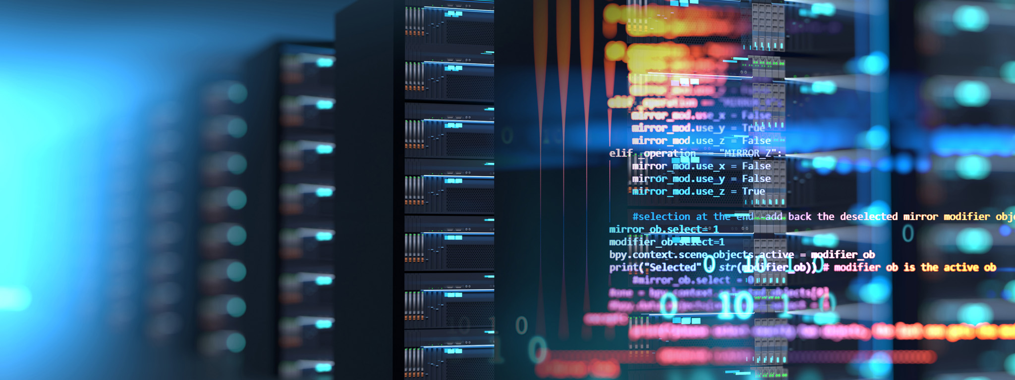Fokus pada barisan rak server yang dihiasi kode komputer berwarna-warni
