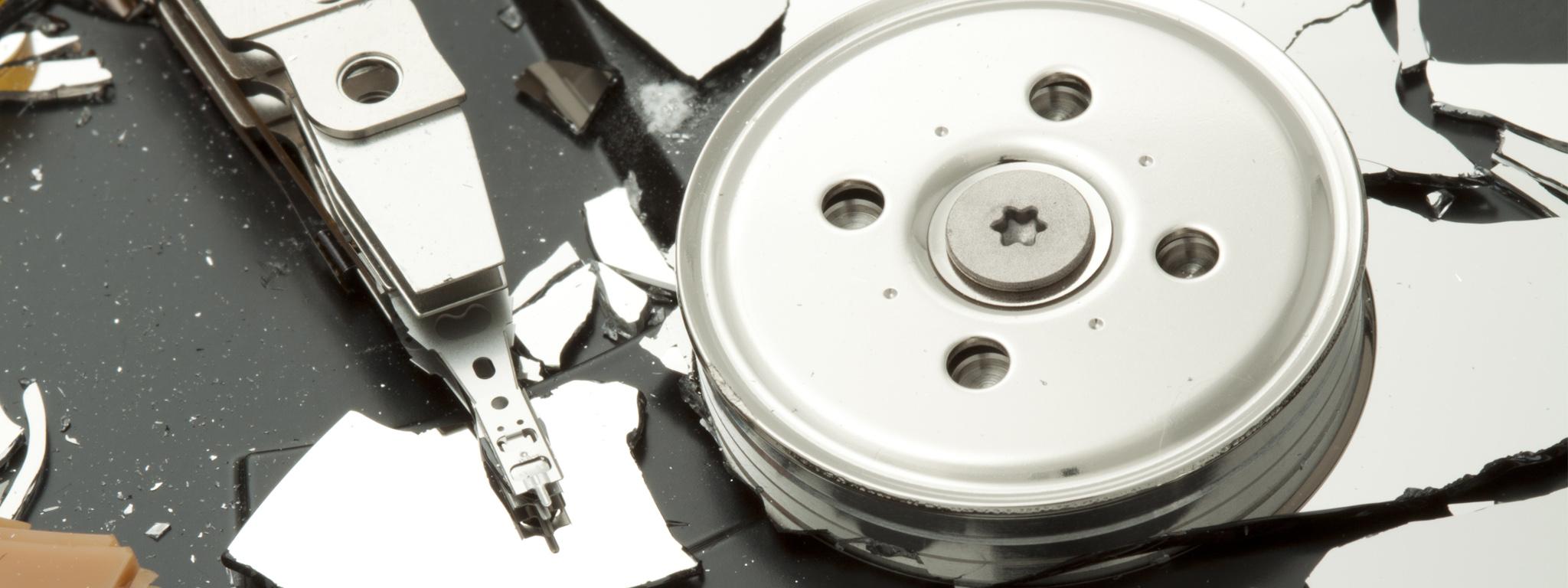A broken hard drive platter.