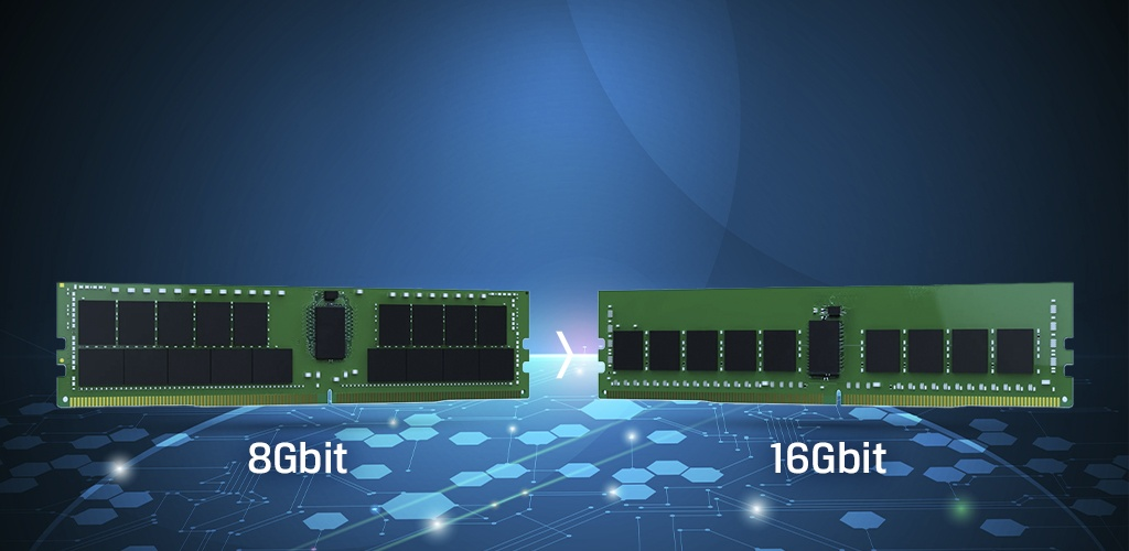 8Gbit and 16Gbit DDR4 memory modules visual comparison