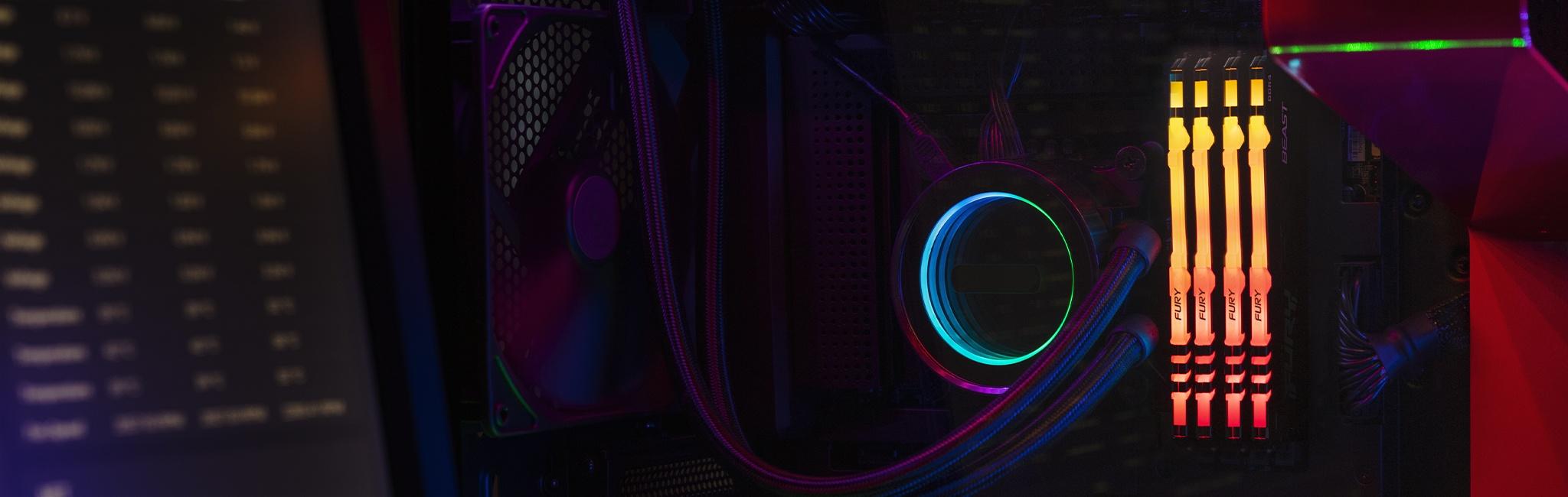 Kingston FURY Beast RGB với quạt làm mát CPU và các dây cắm vào bo mạch chủ, cùng một màn hình ở bên trái hiển thị các thông số kỹ thuật của máy tính