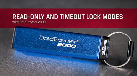 DataTraveler 2000 の読取り専用モードとタイムアウトロックモードはキーパッドを介して有効にして、ドライブへの書き込みアクセスを制限したり、自動的にロックすることが可能です。